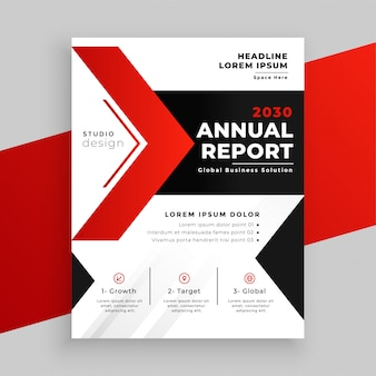 Современная красная тема годовой отчет бизнес шаблон дизайна
