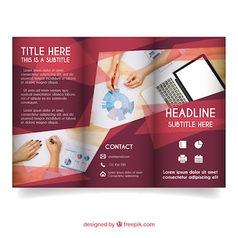 Modern red trifold business brochure