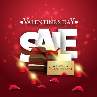 チョコレート菓子とモダンな赤いバレンタインデーの販売バナー