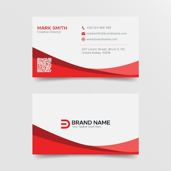 Modern red and white business card design template