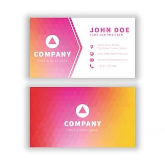 Modern red yellow geometrical business card