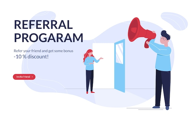 Modern referral program horizontal banner template with young people
