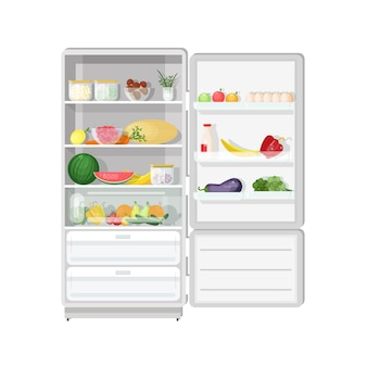 Modern refrigerator with opened door full of various healthy vegetarian food