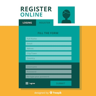 Modern registration form template with flat design