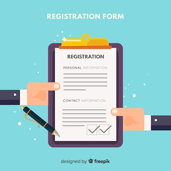 Modern registration form with flat design