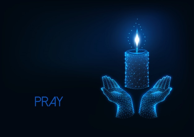Modern religious web background with glowing low polygonal praying hands and burning candle