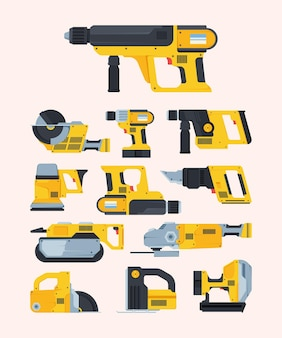 Modern renovation power tools flat illustrations set. different drills and saws. repair and engineering equipment pack.