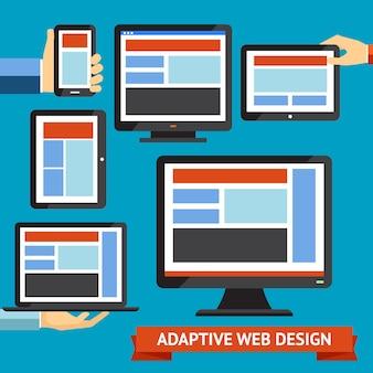 Web design moderno reattivo e adattivo e app mobili
