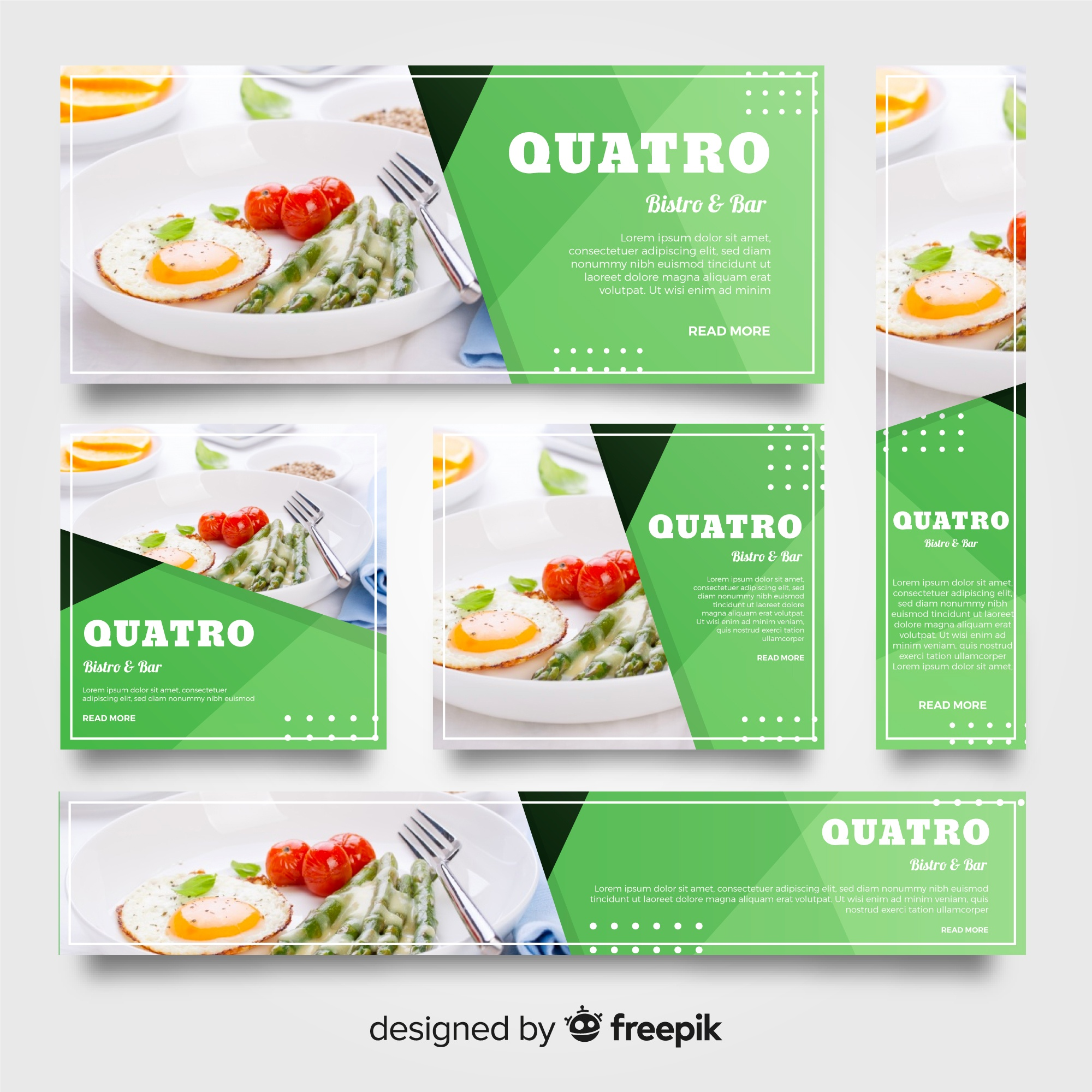 Modern restaurant banners with photo