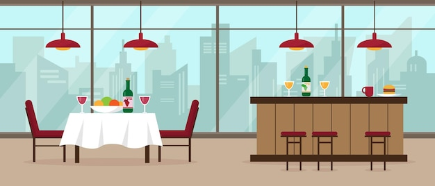 Modern restaurant and bar interior with big panoramic window and city view