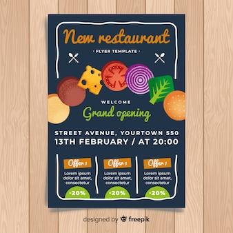 Modern restaurant flyer template with flat design