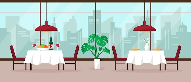 Современный интерьер ресторана с большим панорамным окном и видом на город.