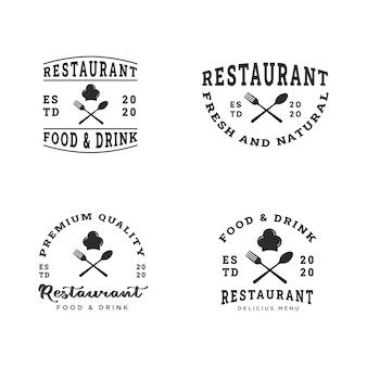 Коллекция шаблонов дизайна логотипа современного ресторана