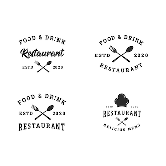 Modern restaurant logo design template collection Premium Vector
