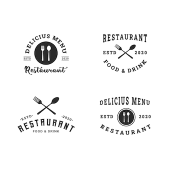 Modern restaurant logo design template collection Premium Vector