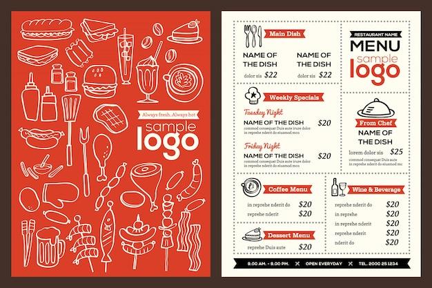 현대 레스토랑 메뉴 표지 디자인 팜플렛 벡터 템플릿