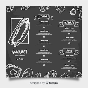Modern restaurant menu template with chalkboard style