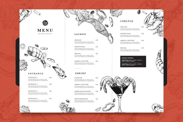Шаблон меню современного ресторана