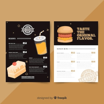 Modern restaurant menu with burgers template