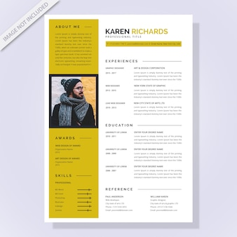 Modern resume templates with flat design