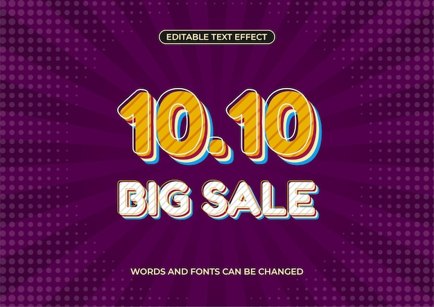 Modern retro 10.10 big sale banner promotion, editable text effect