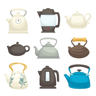 Modern and retro kettles set of all designs. teapots of fragile