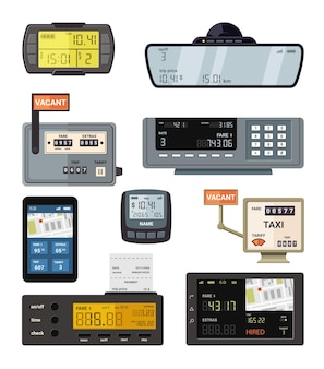Modern and retro taximeters set