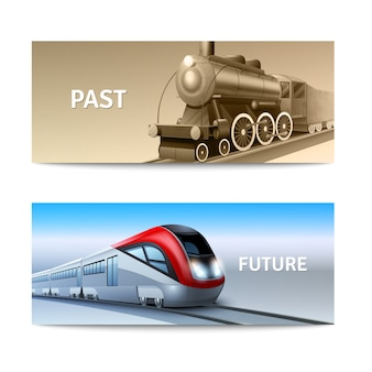 Modern and retro train locomotives horizontal banner set