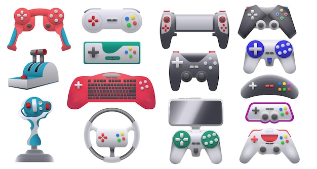 Modern and retro video game consoles, gamepads and joysticks. wireless gaming control gadgets and steering wheel. gamer devices vector set. illustration of play game console collection