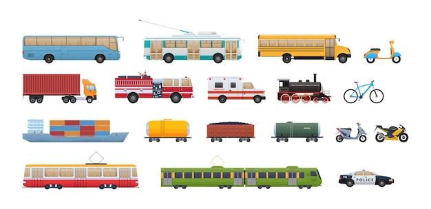 モダンなレトロホイール輸送セット。乗客および貨物輸送車両。トロリーバス、スクールバス