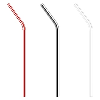 Modern reusable glass and steel drinking straws
