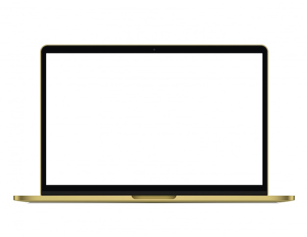 Modern rich golden laptop isolated