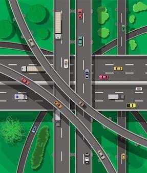 Современные дороги и транспорт. вид сверху.