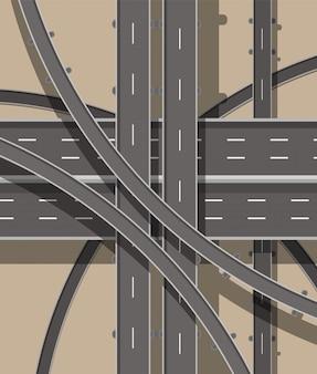 現代の道路と交通機関。上面図。