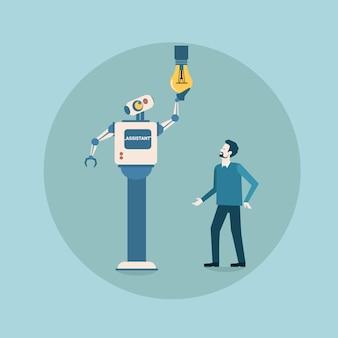 Modern robot changing light bulb futuristic artificial intelligence mechanism housekeeping technology