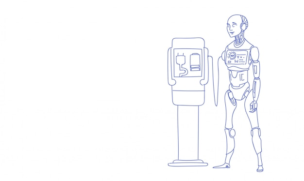 Modern robot charging battery futuristic artificial intelligence technology sketch doodle