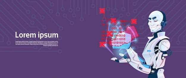 Modern robot coding, futuristic artificial intelligence mechanism technology