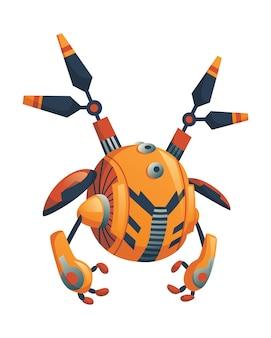 현대 로봇 개념. 로봇 공학 및 인공 지능 기술 사이보그, 군사 전투 외골격 캐릭터, 외계인 사이버 네틱 전사. 인공 지능, 외계인 기계.