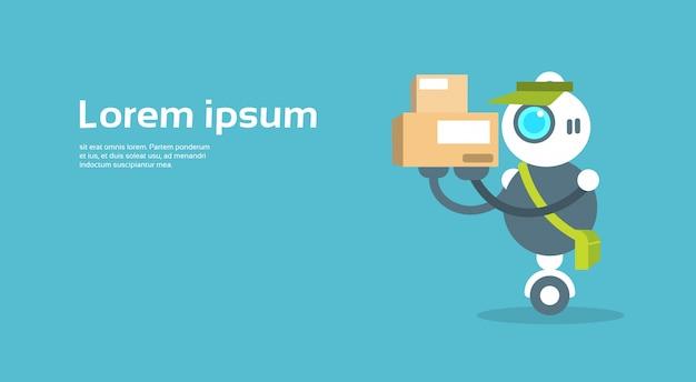 Modern robot courier artificial intelligence technology concept