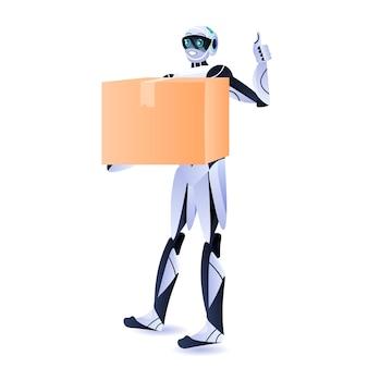 Современный робот-курьер, робот-робот, держащий картонную коробку, служба доставки концепции искусственного интеллекта