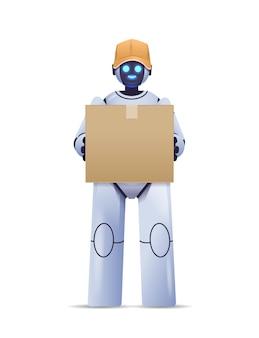 Современный робот-курьер робот-доставка держит картонную коробку служба доставки искусственный интеллект