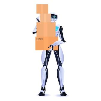 Современный робот-курьер-робот-робот, держащий картонные коробки, служба доставки концепция искусственного интеллекта
