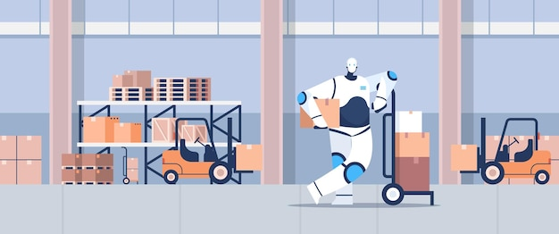 段ボール小包を備えた現代のロボット宅配便