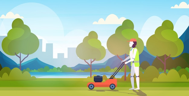 Modern robot cutting grass with lawn mower robotic gardener