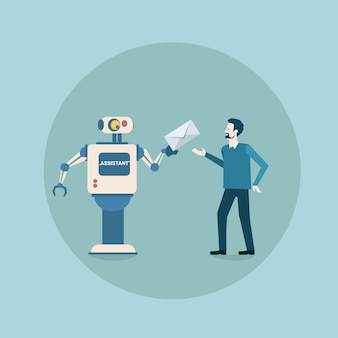 Modern robot giving mail envelope to man icon, futuristic artificial intelligence mechanism housekeeping technology