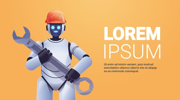 Modern robot in helmet holding wrench repair service artificial intelligence