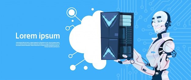 Modern robot hold cloud database server, futuristic artificial intelligence mechanism technology