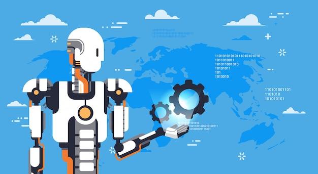 Современный робот удерживает зубчатое колесо над картой мира футуристический механизм искусственного интеллекта технология
