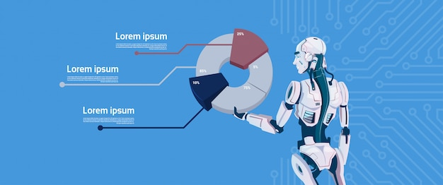 Modern robot hold graphic diagram, futuristic artificial intelligence mechanism technology