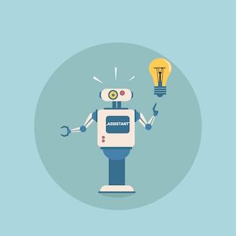 Modern robot hold light bulb futuristic artificial intelligence mechanism technology